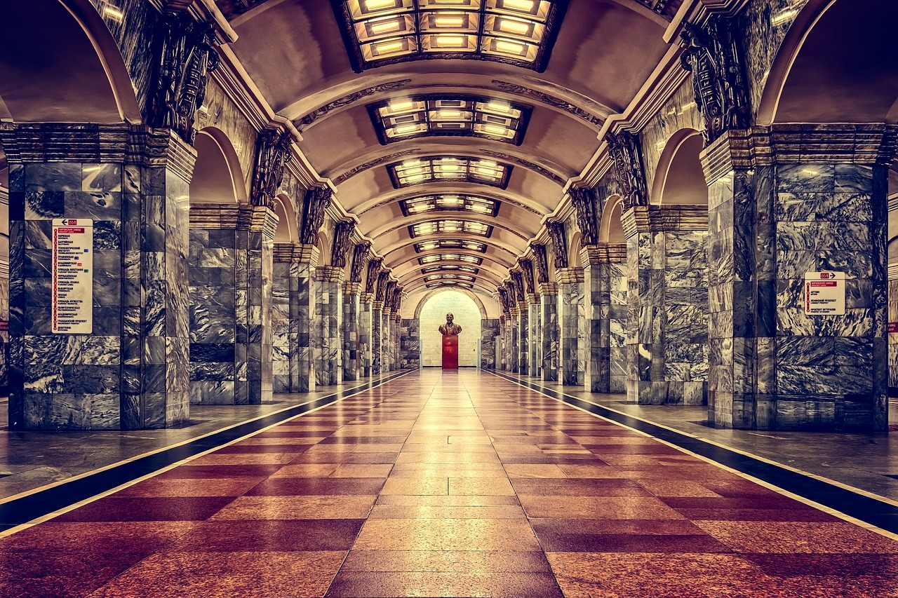 Railway Metro Station Saint Petersburg Art Painting Russia
