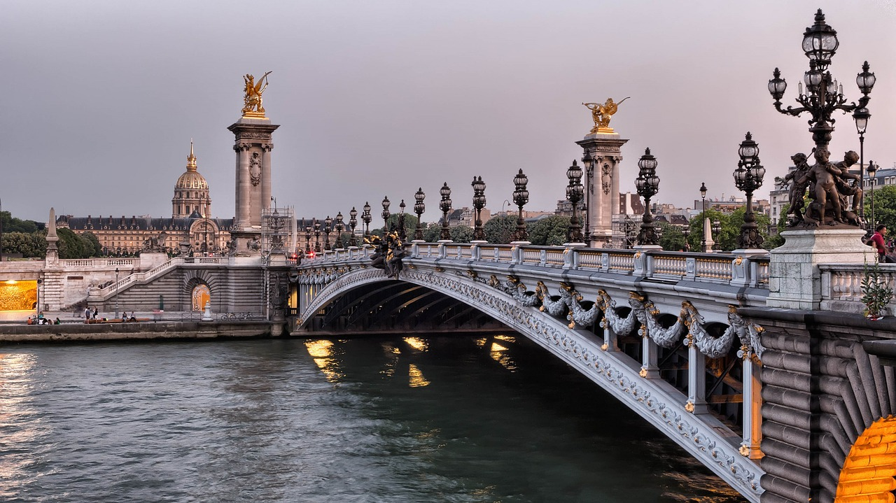 Seine River Bridge Pont Alexander Iii Paris France